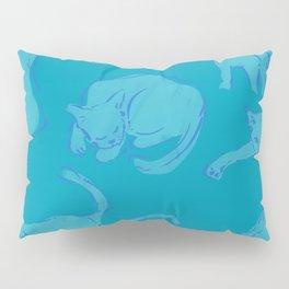 Cat Crazy teal circle Pillow Sham