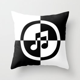 Black and White Music Note Throw Pillow