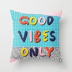 Check it - good vibes happy smiles fun modern memphis throwback art 1980's 80's 80s 1980s 1980 neon  Throw Pillow