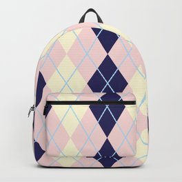 Schoolgirl White Blue And Pink Argyle Backpack