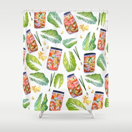 Kimchi Ingredients Spicy Fun Watercolor  Shower Curtain