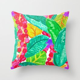 Illustrated Sea Grapes + Tropical Leaves Throw Pillow