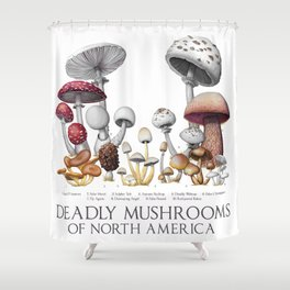 Deadly Mushrooms of North America Shower Curtain