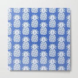 Mid Century Modern Pineapple Pattern Blue Metal Print