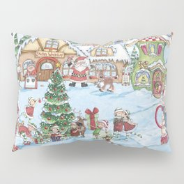 Santa's Christmas Winter Village Pillow Sham