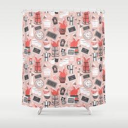 Modern farmhouse coffee station // pink Shower Curtain