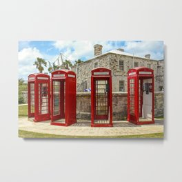 Red Phone Booths In Bermuda Metal Print