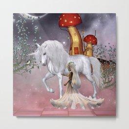 Little fairy with unicorn Metal Print