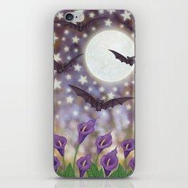 the moon, stars, bats, & calla lilies iPhone Skin