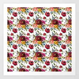 Red pink coral yellow watercolor modern floral Art Print