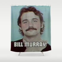bill murray Shower Curtains featuring Bill Murray Vintage VHS Quality  by Spyck