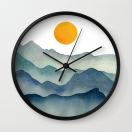 Mountain Range Silhouette – Blue & Yellow Wall Clock