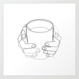 """ Kitchen Collection "" - Hands Holding Hot Cup Of Coffee/Tea Art Print"