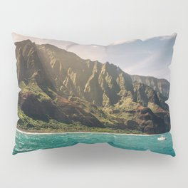 Na Pali Coast Kauai Hawaii Printable Wall Art | Tropical Beach Nature Ocean Coastal Travel Photography Print Pillow Sham