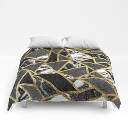 Modern Faux Gold Glitter Marble Geometric Triangle Comforters