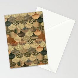 Brown Copper Glamour Mermaid Scale Pattern Stationery Cards