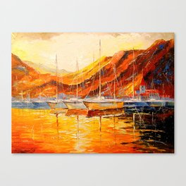 Golden sunset at the mountains Canvas Print
