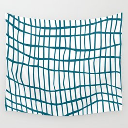 Net Blue on White Wall Tapestry