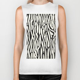 Zebra Stripes Tribal Black and Cream Biker Tank