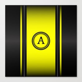 Monogram A - Black and Yellow Canvas Print