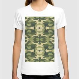 Retro close-up view camouflage fabric illustration pattern T-shirt