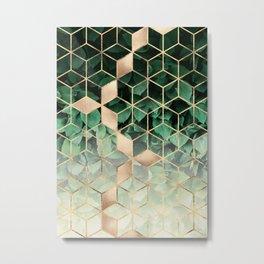 Leaves And Cubes Metal Print