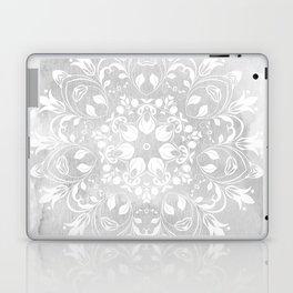 white on gray mandala design Laptop & iPad Skin