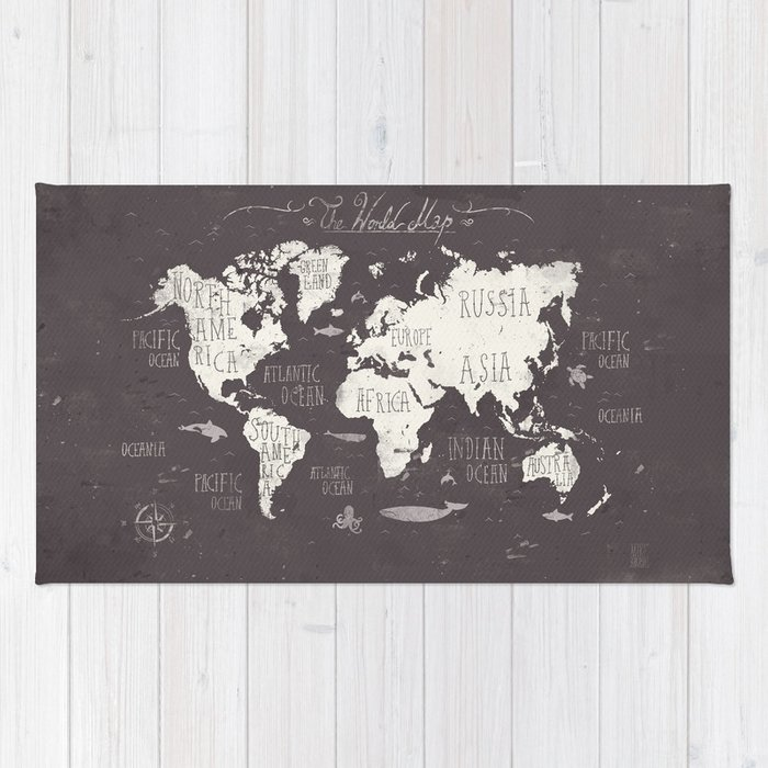 The World Map Rug by mikekoubou | Society6