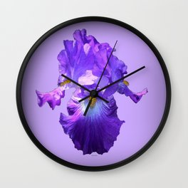 Decorative Lilac Bearded Iris Flower Wall Clock