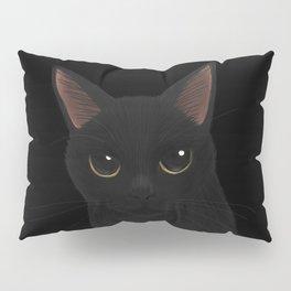Black cat in black Pillow Sham