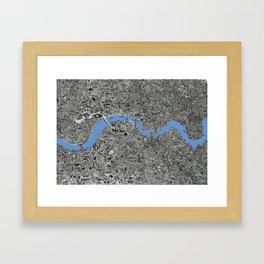 Map of London Thames Drawing Framed Art Print
