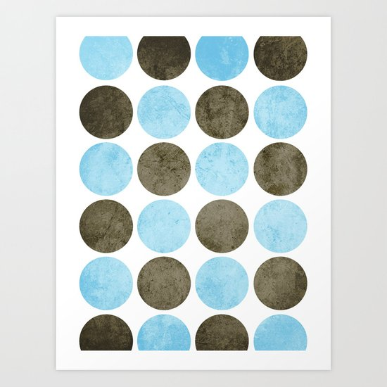 Circles (Blue & Brown) Art Print