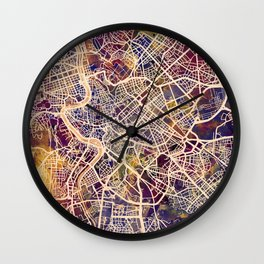 Rome Italy City Street Map Wall Clock