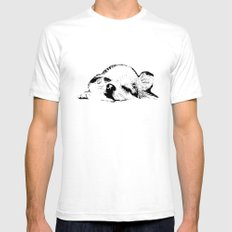 Sleepy Long Hair Chihuahua White Mens Fitted Tee SMALL