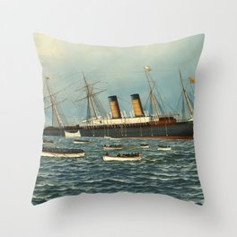 Vintage Illustration of The SS Oregon Sinking (1902) Throw Pillow