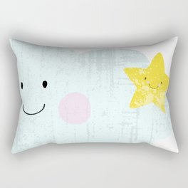 Kawaii Happy Cloud Rectangular Pillow