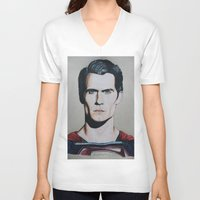 man of steel V-neck T-shirts featuring Superman (Man of Steel) by JH Art