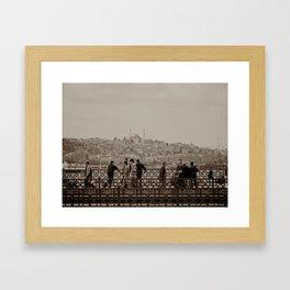 Fishermen on Galata Bridge (Istanbul, TURKEY) Framed Art Print