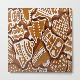 biscuit brown christmas cookie Metal Print