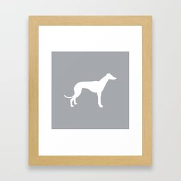 Greyhound square grey and white minimal dog silhouette dog breed pattern Framed Art Print
