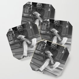 Albert Einstein in Fuzzy Slippers Classic Black and White Photography Coaster