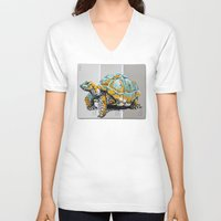 tortoise V-neck T-shirts featuring Tortoise by aceta