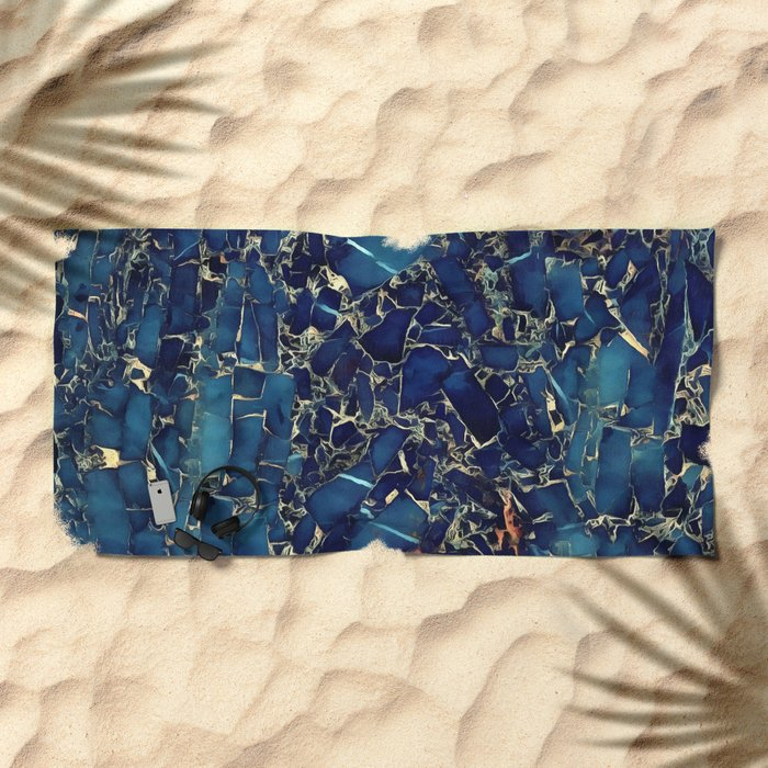 Dark blue stone marble abstract texture with gold streaks Beach Towel