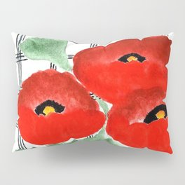 Poppies and Plaid Pillow Sham