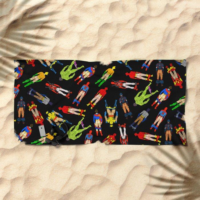 Superhero Butts Pattern (Dark) Beach Towel