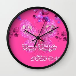Power Pink for a Cure - The Wings of Faith Wall Clock