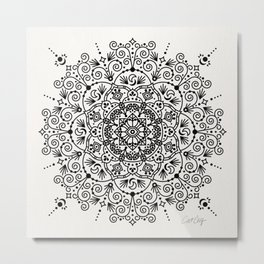 Moroccan Mandala – Black Ink Metal Print