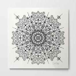 Moroccan Mandala – Black Ink Metal Print