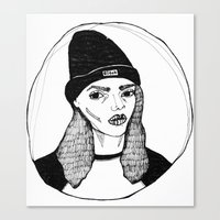 bitch Canvas Prints featuring bitch. by Juliet Stedman