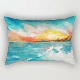 Blazing sunset in the sea Bay drawing by pastel Rectangular Pillow